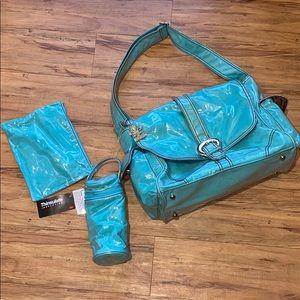 Baby Kalencom Lamanated Aqua Diaper Buckel Bag NWT